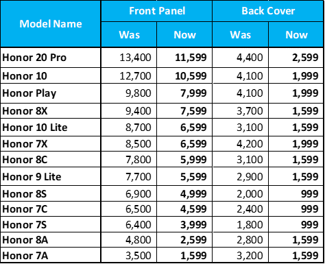 honor mobile phones service charges